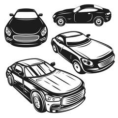 Set of illustrations of cars. Design elements for logo, label, emblem, sign, poster.