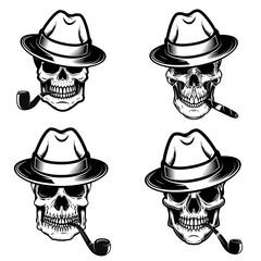 Set of skulls of smokers. Design elements for logo, label, emblem, sign, poster.