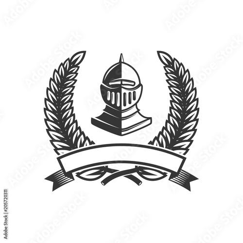 emblem template with medieval knight helmet design element for logo