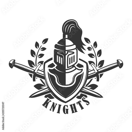 Emblem template with medieval knight helmet. Design element for logo ...