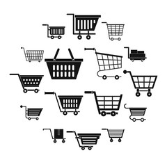 Shopping cart icons set. Simple illustration of 16 shopping cart vector icons for web