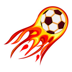 Colorful cartoon soccer fast ball flame.