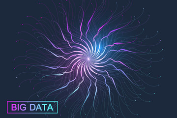 Big data visualization. Graphic abstract background communication. Perspective backdrop visualization. Analytical network complex. Vector illustration.