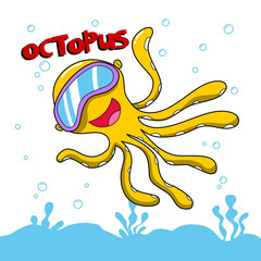 octopus boy. funny underwater world illustration