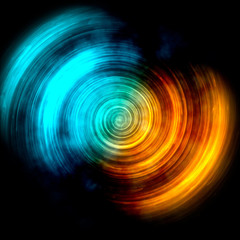 Blue & Orange Spin Abstract