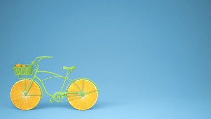 Green bike with sliced orange wheels, healthy lifestyle concept with blue pastel background copy space
