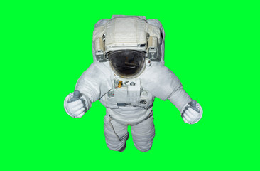 Astronaut isolated on green background 3D rendering elements of this image furnished by NASA