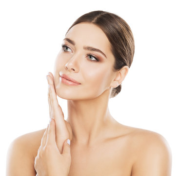 Face Beauty Skin Care, Woman Natural Make Up, Girl Skincare Isolated over White Background Touch Cheek by Hand