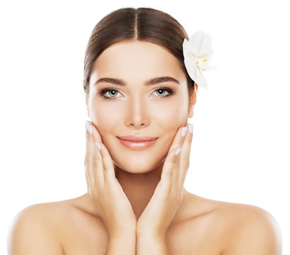 Face Beauty Skin Care, Woman Natural Make Up, Model Isolated over White Background Touch Cheeks by Hand, Flower in Hair