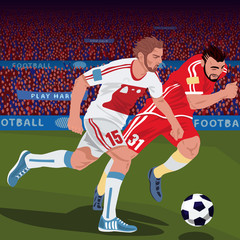 Football gameplay. Two soccer players from different teams, running for ball on football field, front side view, spectator area on background. Duel concept