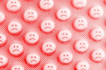 Sad face of pills