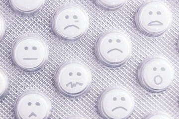 Sad face of pills