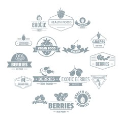 Berries logo icons set. Simple illustration of 16 berries logo vector icons for web