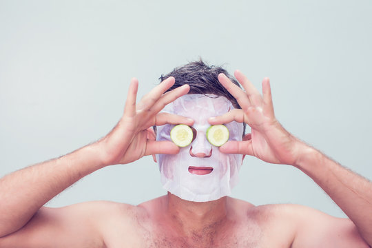 man in a cosmetic mask skin care