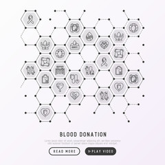 Blood donation, charity, mutual aid concept in honeycombs with thin line icons. Symbols of blood transfusion, medical help and volunteers. Vector illustration, poster, print media for World donor day.