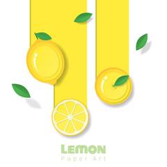 Fresh lemon fruit background in paper art style , vector , illustration
