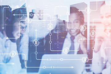 Business team, bitcoin network interface