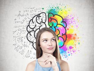 Young pensive woman, creative brain