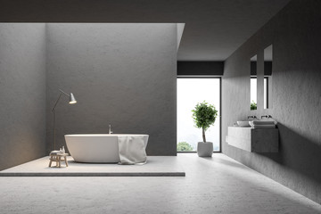 Loft gray bathroom interior