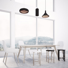 Loft dining room interior, wooden table, view