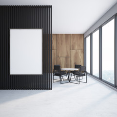 Black and wooden dining room, poster