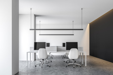 White contemporary office, computer screens