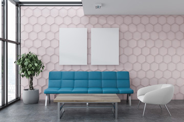 Pink honeycomb living room with posters