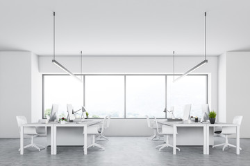 Side view of an open space office interior