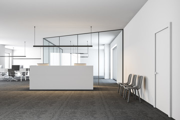 Modern office lobby, white reception front view