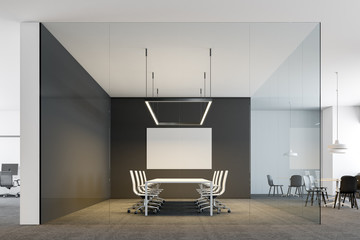 Glass wall boardroom with poster