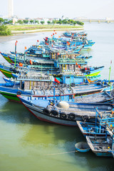 DA NANG, VIETNAM, May 1th, 2018: Fishing boats at Han river, Da Nang, Vietnam