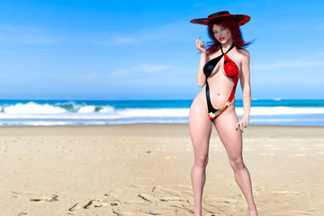 3D Beautiful woman red black swimsuit and hat on sea beach. Summer rest. Blue ocean background. Sunny day. Conceptual fashion art. Seductive candid pose. Realistic render illustration.