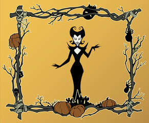 Cartoon halloween frame illustration of diverse evil bizarre creatures and characters, monsters, imps, evil mascots