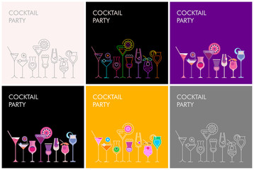 Door stickers Abstract Art Cocktail Party vector banners