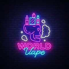 Logo electronic cigarette in neon style. Vape Shop Neon Sign, World Vape Concept with Skull, Emblem, Bright Night Signboard, Neon Advertising Electronic Cigarettes. Vector illustration