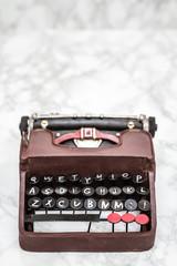 Nostalgic Mini Typewriter Figurine  on White Background
