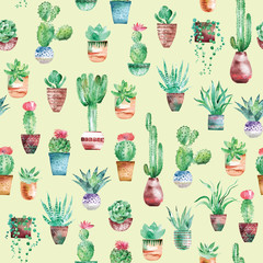 Watercolor seamless pattern with succulents and cactus in the pots on light green background