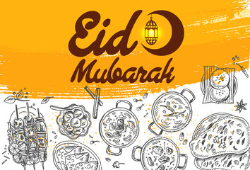 Hand drawn food and Eid Mubarak Calligraphy with crescent moon and lantern, vector
