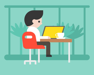 Business man working with laptop at coffee shop, workspace concept flat design