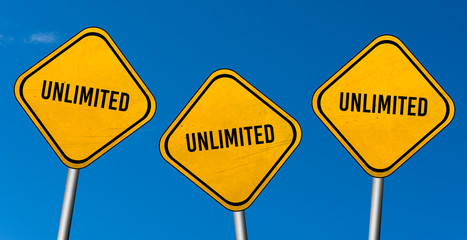 unlimited - yellow sign with blue sky