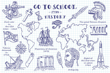 History. Hand sketches on the theme of History. Note book page paper. Vector illustration.