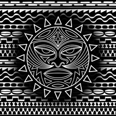 Ethnic symbol-mask of the Maori people - Tiki on seamless pattern. Thunder-like is symbol of God. Sacrad tribal sign in the Polenesian style for application of Tattoos and Moko.