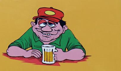 Comicfigur mit einem Bierchen zuviel