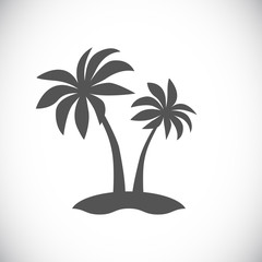 palm tree on island icon