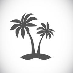 palm tree on island icon