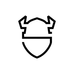 viking hat shield logo vector icon line outline monoline