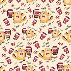 Orange cat and coffee on a light background. Seamless pattern. Design for coffee shop menus, background image for textiles, wrapping paper.