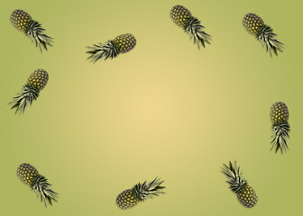 Several pineapples against a green-yellow background