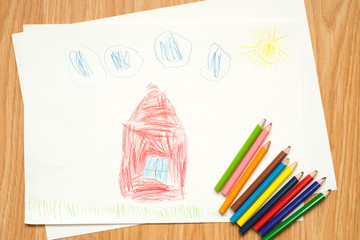 house road and summer landscape, children's drawing with colored pencils and watercolors