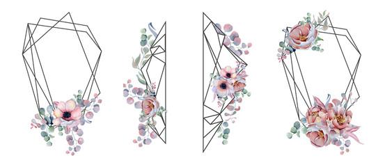 Geometric botanical design frame. Wild  flowers, peonies, anemone, leaves and herbs.